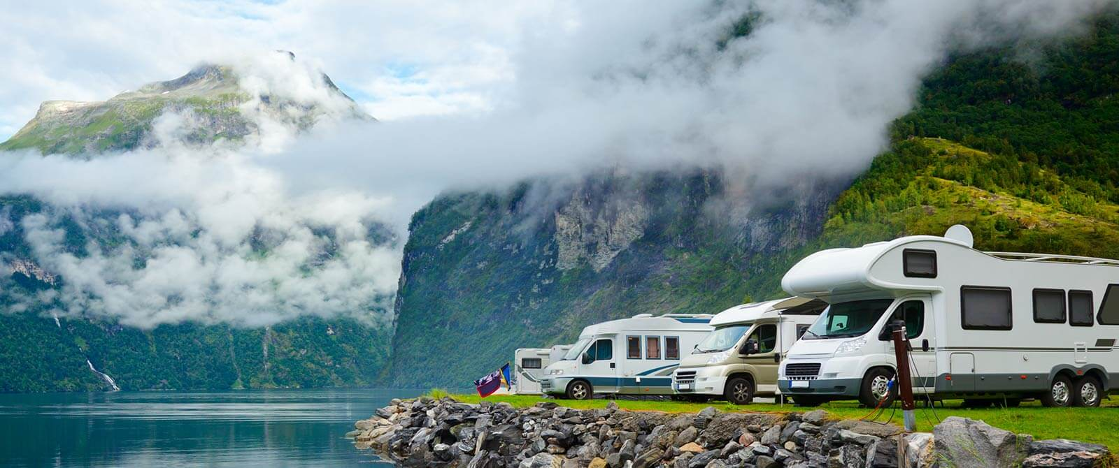 Motorhomes camping off-grid in the mountains