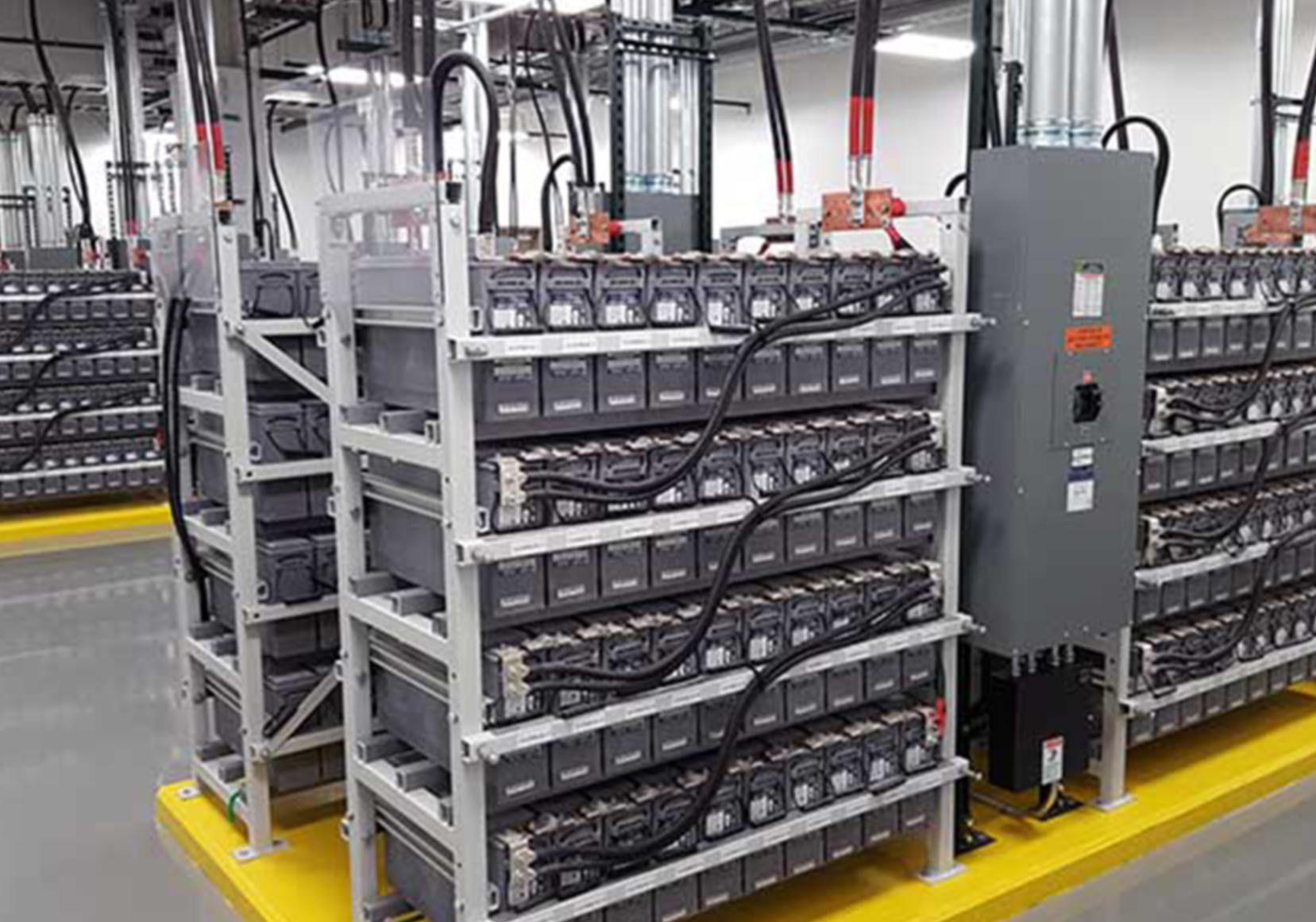 A shelf of servers in a data centre