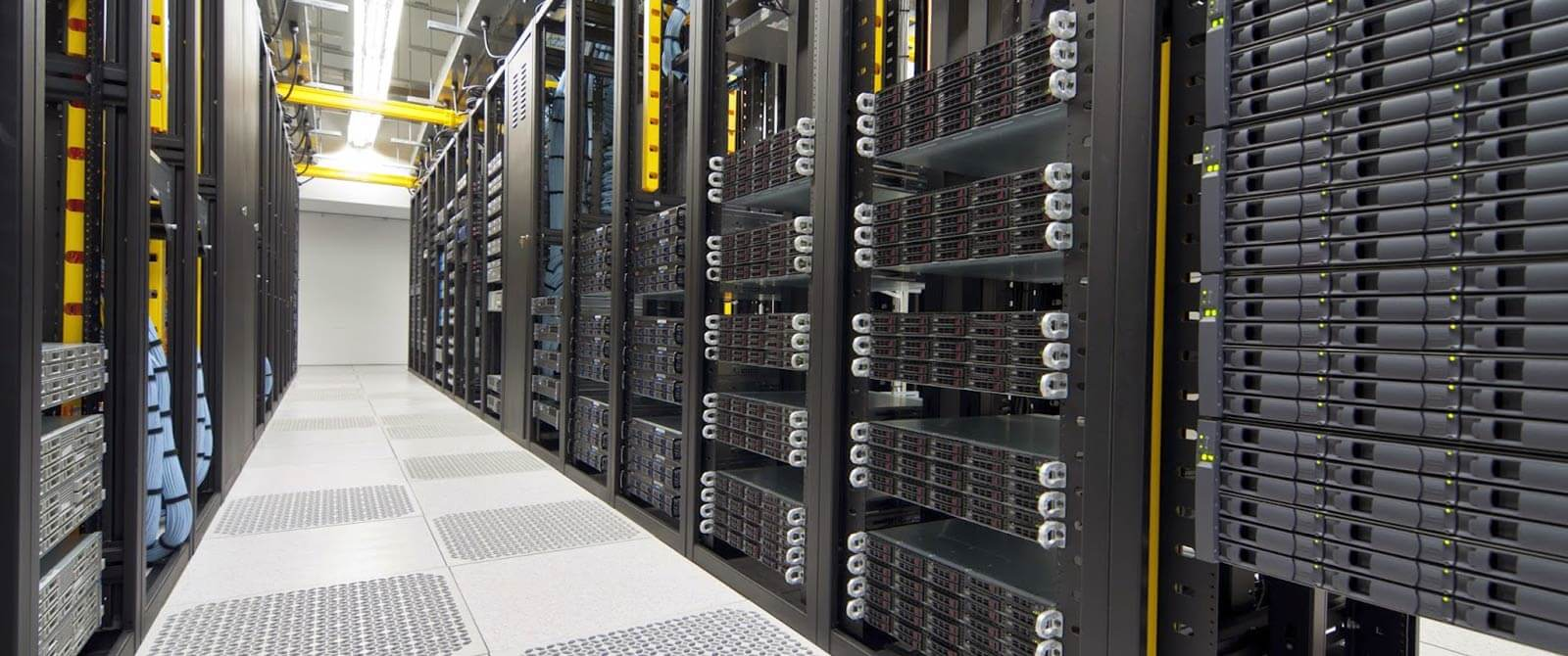 Shelves of servers in a data centre